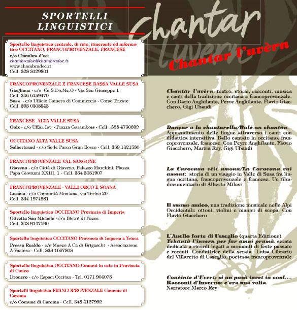 Chantar l'uvern: la programmazione degli eventi 2013-2014 - Comune di Salbertrand