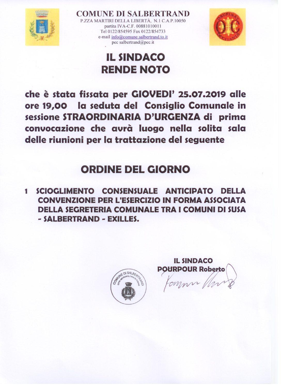 AVVISO DI CONVOCAZIONE CONSIGLIO COMUNALE IN SESSIONE STRAORDINARIA D'URGENZA