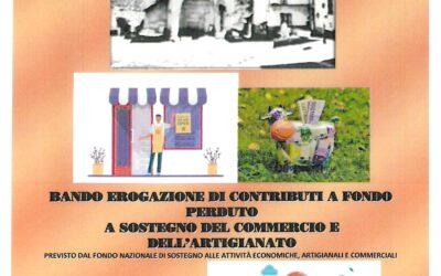BANDO EROGAZIONE DI CONTRIBUTI A FONDO PERDUTO A SOSTEGNO DEL COMMERCIO E DELL'ARTIGIANATO SCADENZA 31.05.2021