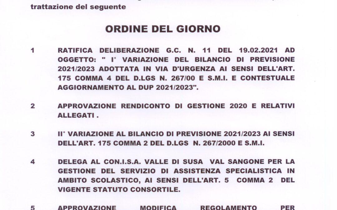 CONVOCAZIONE CONSIGLIO COMUNALE IN SESSIONE ORDINARIA 17.04.2021